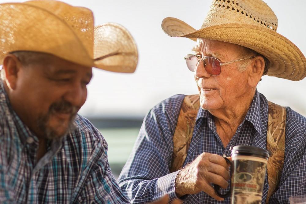 Bobby Daniel, Waggoner Ranch cowboy 1965-2016, with Ricky Rios.
