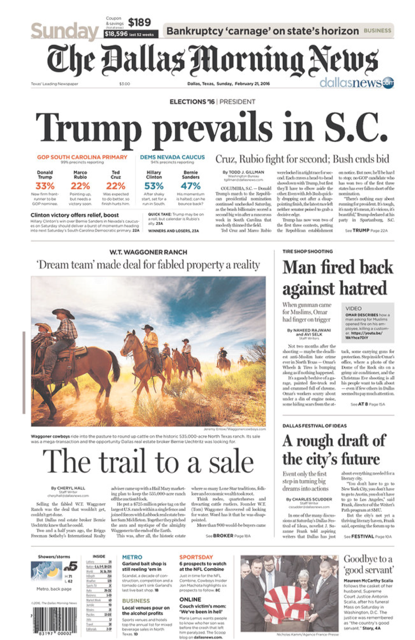 Jeremy Enlow's photo on the front page of The Dallas Morning News