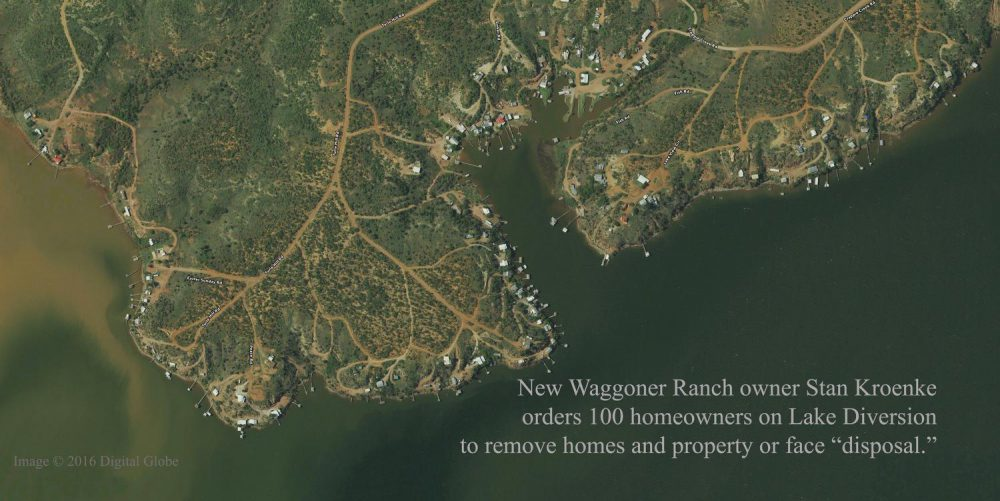 Hundreds of Lake Diversion Residents are being forced to leave their homes by Stan Kroenke, the new owner of the Waggoner Ranch