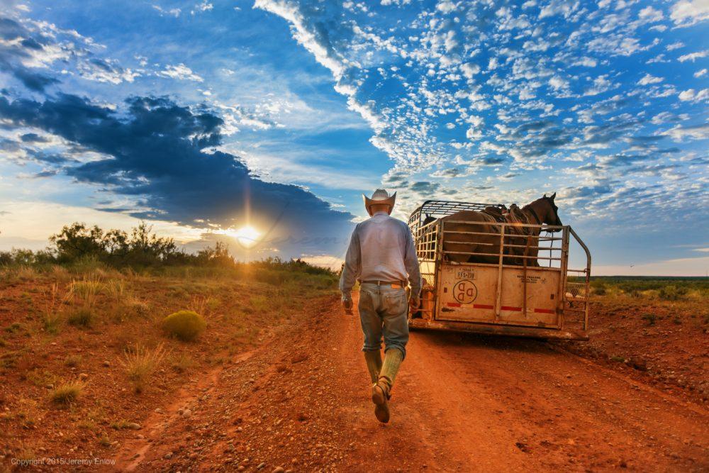 cowboy-horses-dirt-road-texas